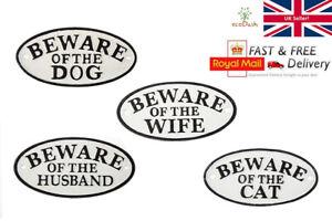 Cast Iron Oval Sign / Plaque - Beware of the Dog / Cat / Husband / Wife - Door
