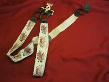 Liberty of London Suspenders Spanish Dancers Gold Tone Clip Leather Tabs - LOOK