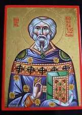 Heilige Bonifatius von Fulda IKONE handgemalt 24K Gold Icon Icone St.