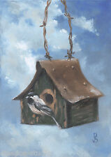 """Home At Last, Chickadee"" Debra Sepos original oil 5x7"" tin roof birdhouse birds"