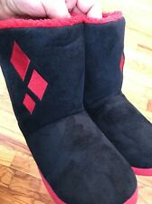 NWT DC Comics Harley Quinn Diamond Plush Slipper Boots Women's Sz Small 5/6