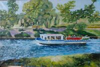ORIGINAL Boat Canal St.Petersbur Oil Canvas 16x24 Hand Russian Painting JSArt