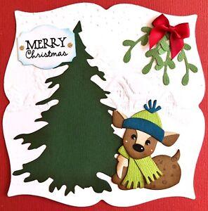 Handmade By Susie Embossed Deer Scene Christmas Card Topper FLAT RATE UK P&P