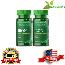 IRON FERROUS SULFATE 65 MG ANEMIA ANEMIC BLOOD LOW ENERGY SUPPLEMENT 200 TABLETS