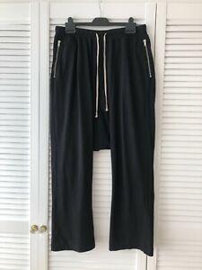 RICK OWENS Black Jersey Cotton Pants Drop Crotch Size M in Good Condition