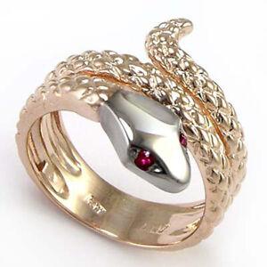 Men's 14k Pink White Gold Ruby Eye Serpent Snake Ring 7 to 14 #R930