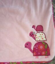 Lambs & Ivy Pink Security Blanket w/ 3 Floral Turtles Stacked Flower Lovey Cozy