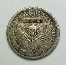 Dated : 1933 - Silver Coin - South Africa - Threepence - 3d Coin - King George V