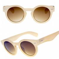 Classic Beige Thick Round Steampunk Dark Lens 50s Sunglasses Vintage Retro 40s