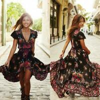 Women Short Sleeve V Neck Boho Floral Long Dress Vintage Summer Sundress Holiday