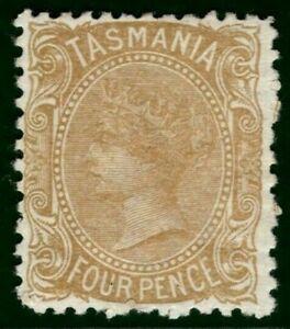 Australia States TASMANIA QV Stamp SG.153 4d Buff VLMM Mint Cat £350+ YBLUE85