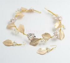 Crystal Pearl Wedding Bridal Gold Leaf Tiara Headpiece Earrings Jewelry Set