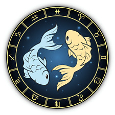 "Pisces Zodiac Sign Car Bumper Sticker Decal 5"" x 5"""