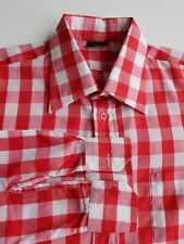 Vintage 1970s Gingham Check Shirt In Red/White Polycotton Mod *L* TR09