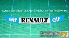 Ayrton Senna fan Visor Sticker to fit Renault F1 Racing Team helmet Black & Blue