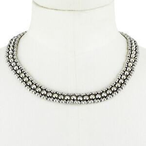 Philippe Audibert Silver Crystal Collar Necklace