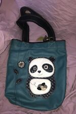 Chala Tote Bag Panda Bear Faux Leather Teal Handbag - Discontinued Pre-owned