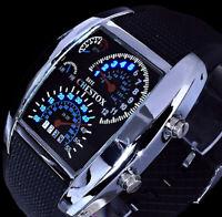Chestox Digital Herren Armband Männer Uhr Blaue Led Silber Farben Tacho Optik