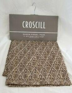 "2 Croscill Marquis Chocolate w/ Gold Accent Sheer Panels (1 Pair) 80"" x 84"" NIP"