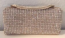 Crystal Beaded Evening Clutch Handbag Purse - Gold - New!