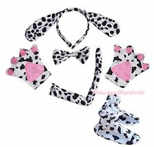 Dalmatian Dog Puppy Headband Bow Tail Paw Shoes 5pc Child School Party Costume