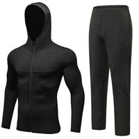Men's Workout Hoodie Zipper Pockets Pants Sports Fitness Running Long Trousers