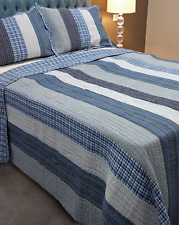Beach House Stripes Queen / King Bedspread Set Throw Coverlet Quilt Patchwork