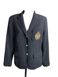 Lauren Ralph Lauren CREST Crown Blazer Black Jacket 12 P Gold Buttons