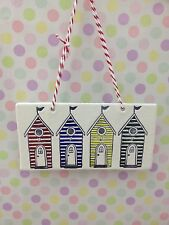Hand Made Hanging 4 Beach Hut Plaque Red Blue Yellow Green Great Gift