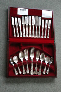 VINERS 6 Place  Setting KINGS ROYALE Sheffield Silver Plate Cutlery Set Cased