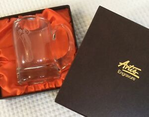 Glass Tankard / Pint Glass With Engraved Golfer - Brand New In Box