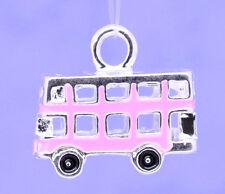 2 Pcs Silver Plated Pink Enamel 3D Bus Charm Pendants 17x15mm LC1419
