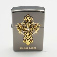 Zippo TriberCross Emblem Black Ice Lighter Vintage High polished brass Windproof
