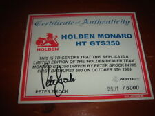 Peter Brock signed Certificate of Authenticity Autoart Holden Monaro HT - 1969