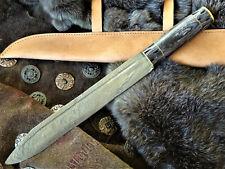 Sax- Mittelalter- Wikingermesser-Damastmesser-Handgeschmiedet -Holz - 43+cm (K8)