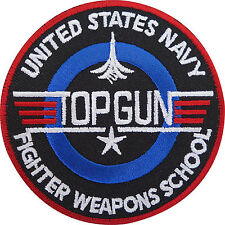 Top Gun Patch Embroidered Iron / Sew On Badge Navy Air Force Fancy Dress Costume