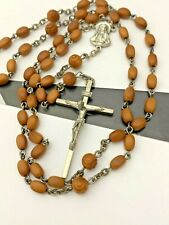 Vintage Sterling Silver 925 Brown Art Glass Crystal Bead Rosary Necklace