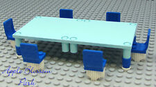 LEGO City Minifig BLUE TABLE CHAIRS - Gr8 4 Friends Thanksgiving Kitchen Food