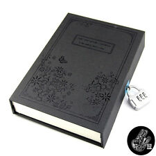 Journal Diary Notebook Notepad Planner Paper Vintage w/ Code Lock Gift Box Black