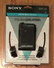 Sony AM/FM Walkman SRF-29 Stereo Receiver Headphones Belt-clip Vintage Sealed