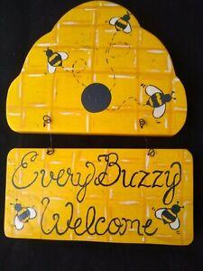 """Every Buzzy Welcome"" Bee Hive Yellow/Black Wall Decor Bumblebee Plaque Handmade"