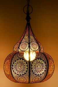 Indian Pendant Lighting Hanging Ceiling Metal Decor Moroccan Lamp (Gold) 14x10""