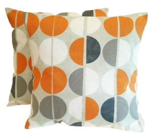 "14"" 16"" 18"" New Cushion Cover Shoreditch Mango Grey Orange Black Circle Design"