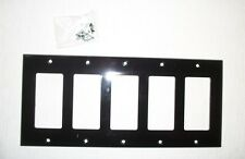 5 Gang  DECORATOR  BLACK Plastic Wall Switch Plate Cover  ** Brand New w/ Screws