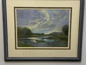 Pastel By John Selby Of The River Ribble Ribchester Lancashire 'Fading Light'