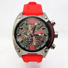 New Diesel DZ4481 Overflow Red Silicone Band Black Dial Sport Men Watch