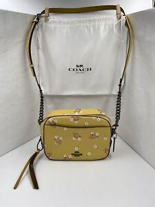 Coach 29347 Yellow Mustard Floral Bow Camera Bag Shoulder Crossbody Bag W/Cover
