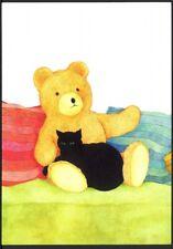 Modern Sue Boettcher Postcard: Black Cat & Giant Teddy Bear  (ref: PLC18)