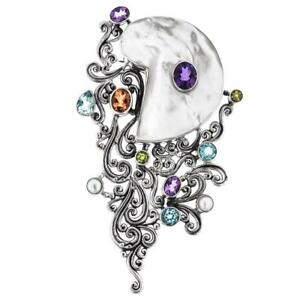 "4 5/16"" OPULENT MOTHER OF PEARL GEMS 925 STERLING SILVER brooch"