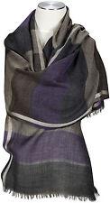 Schal Streifen Braun Lila Wolle Seide scarf brown gray wool silk ècharpe foulard